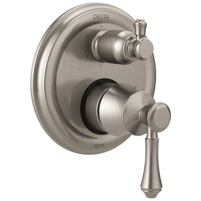 Delta Cassidy Stainless Steel Finish Shower Faucet Control Handle with 6-Setting Integrated Diverter Includes Trim Kit and Rough-in Valve with Stops D2185V