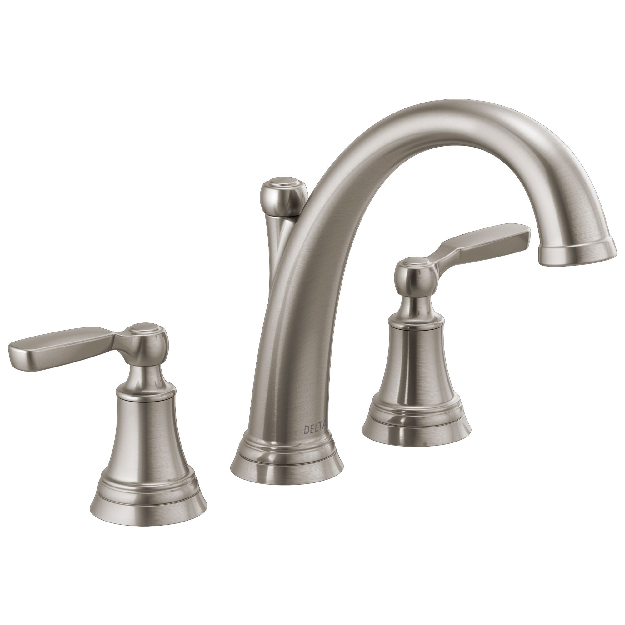 Delta Woodhurst Stainless Steel Finish Deck Mount Roman Tub Filler Faucet Includes Rough-in Valve and Lever Handles D3164V