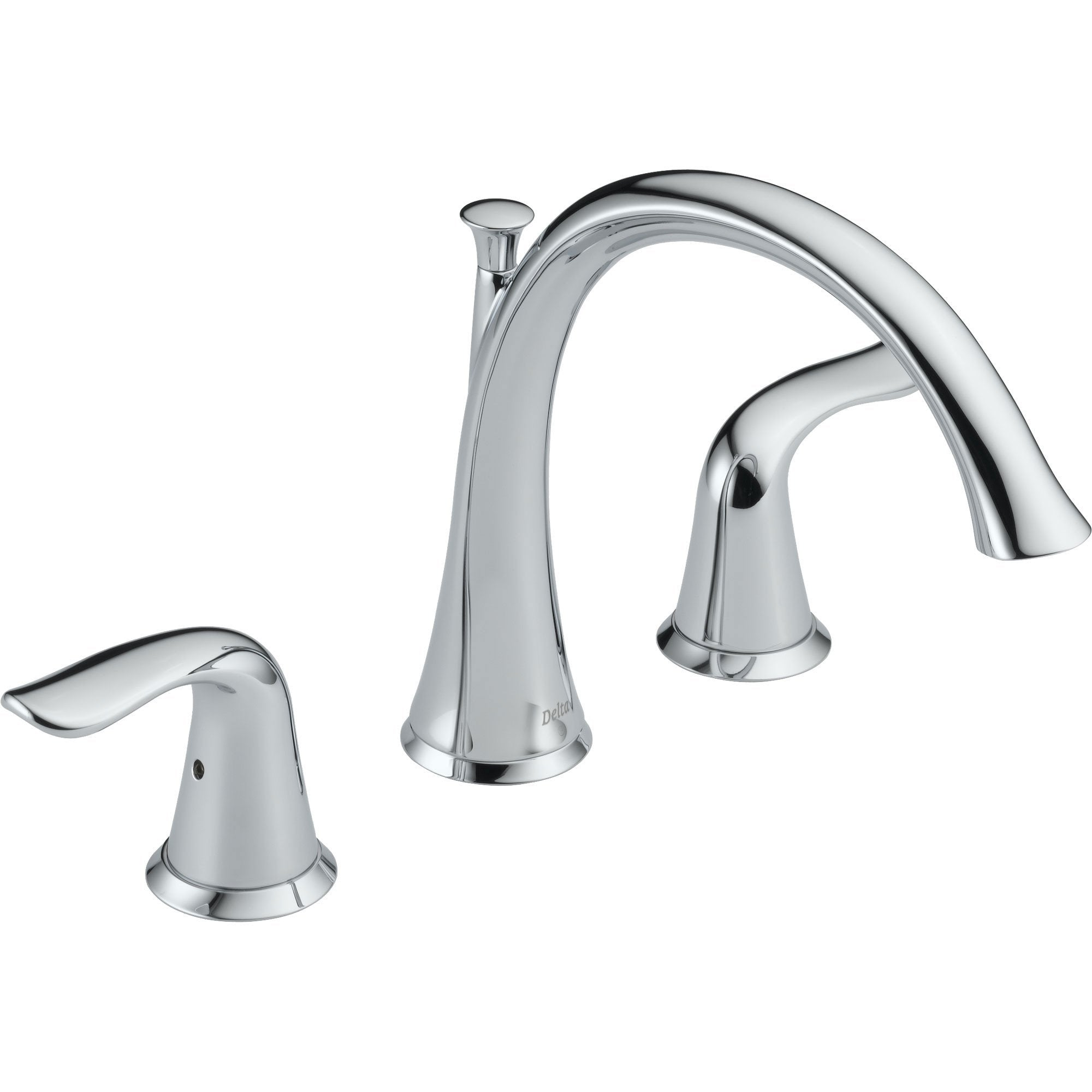 Delta Lahara Chrome 2-Handle Deck Mount Roman Tub Filler Faucet with Valve D896V