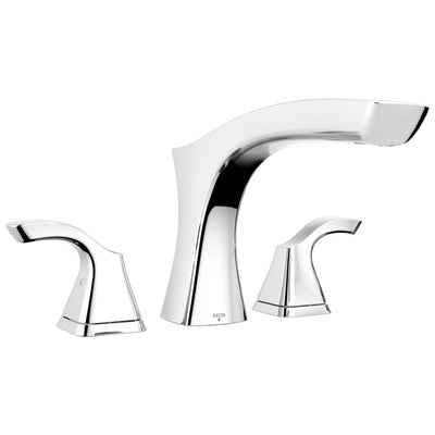 Delta Tesla Collection Chrome Finish Modern Widespread Roman Tub Filler Faucet Includes Trim Kit and Rough-in Valve D1919V