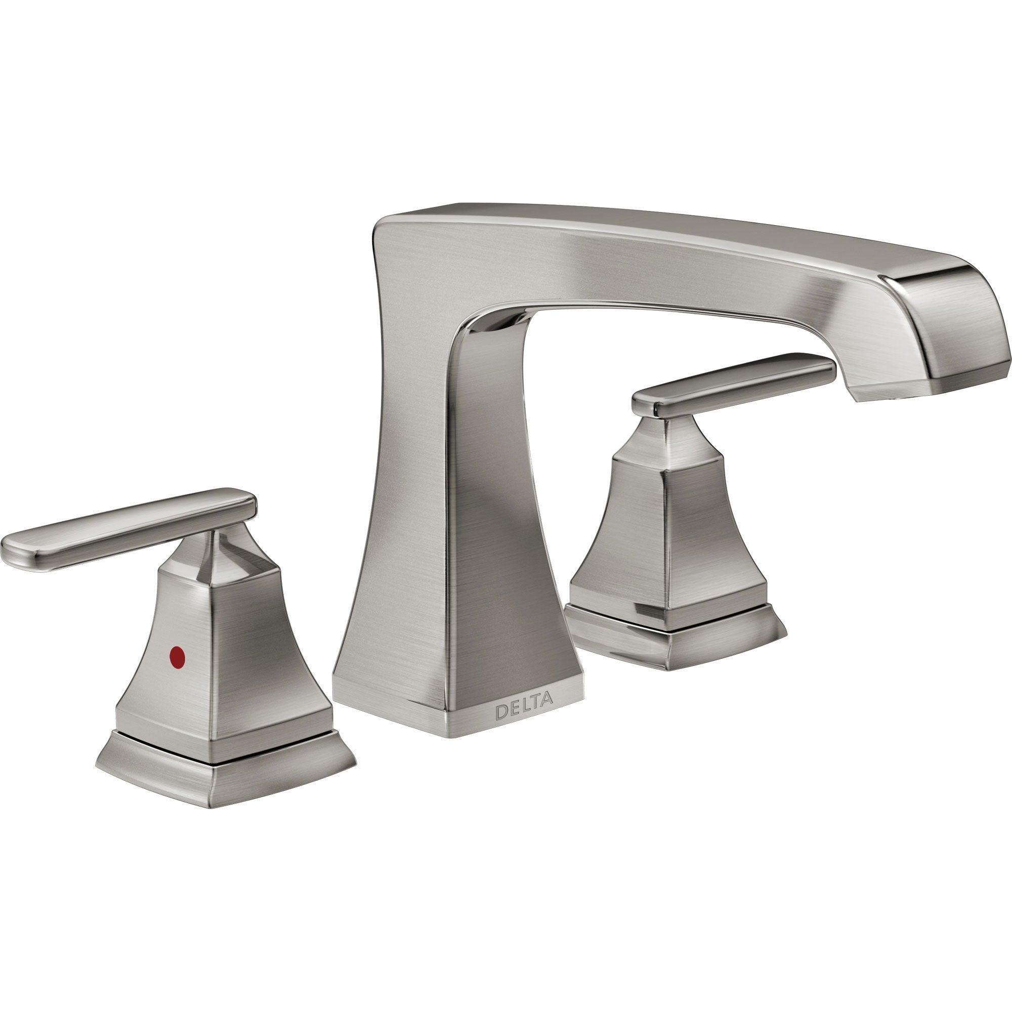 Delta Ashlyn Modern Stainless Steel Finish Roman Tub Filler Faucet INCLUDES Valve and Lever Handles D1092V