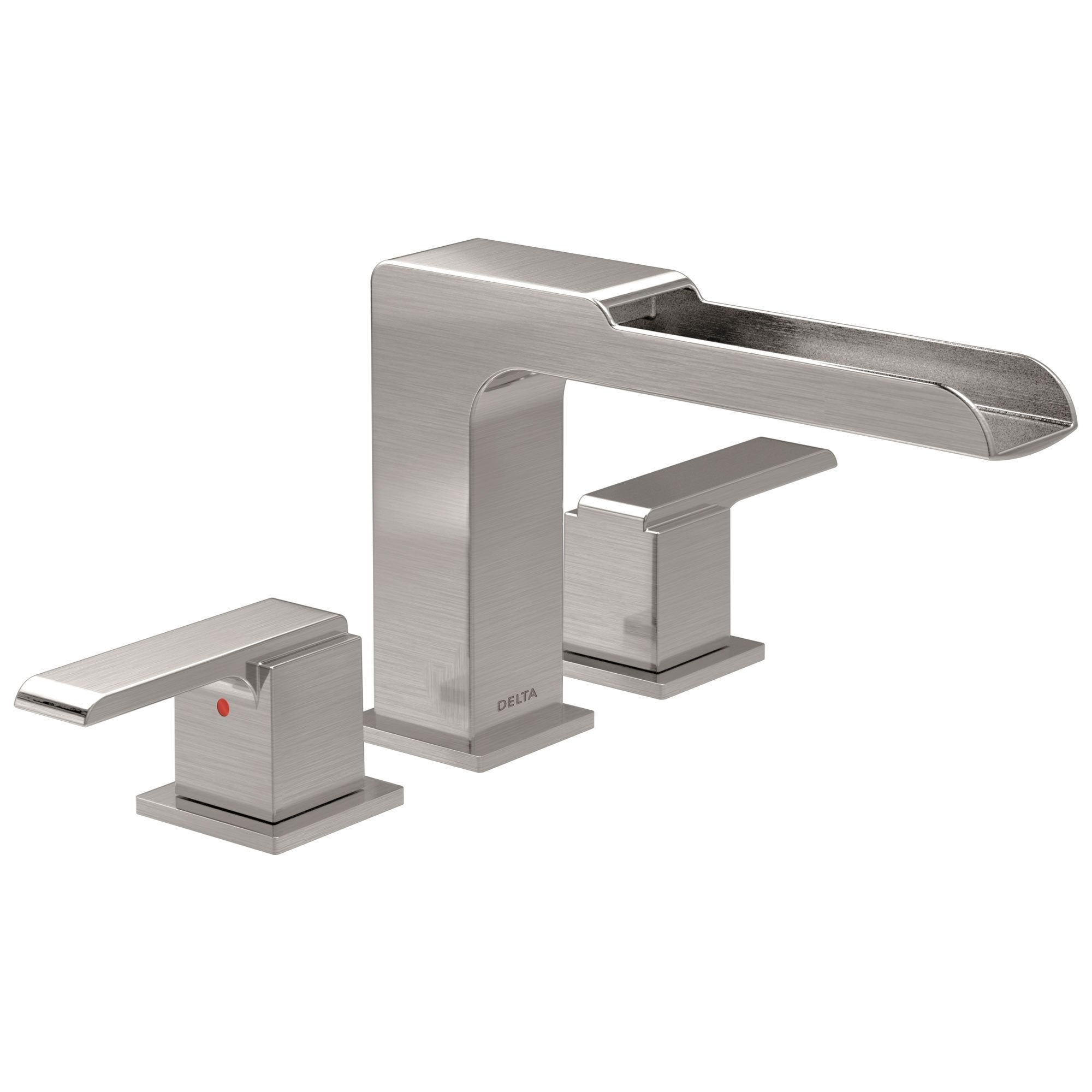 Delta Ara Collection Modern Stainless Steel Finish Roman Tub Filler Faucet with Channel Spout Includes Trim Kit and Rough-in Valve D1916V