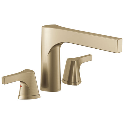Delta Zura Champagne Bronze Finish 3-hole Roman Tub Filler Faucet Includes Lever Handles and Rough-in Valve D3618V