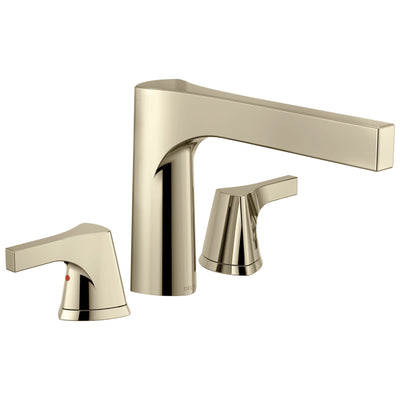 Delta Zura Collection Modern Polished Nickel Finish 3-Hole Roman Tub Filler Faucet Includes Trim Kit and Rough-in Valve D1914V
