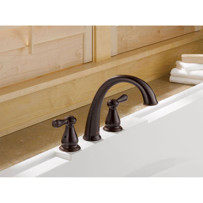 Delta Leland 2-Handle Widespread Venetian Bronze Roman Tub Faucet Trim 467086