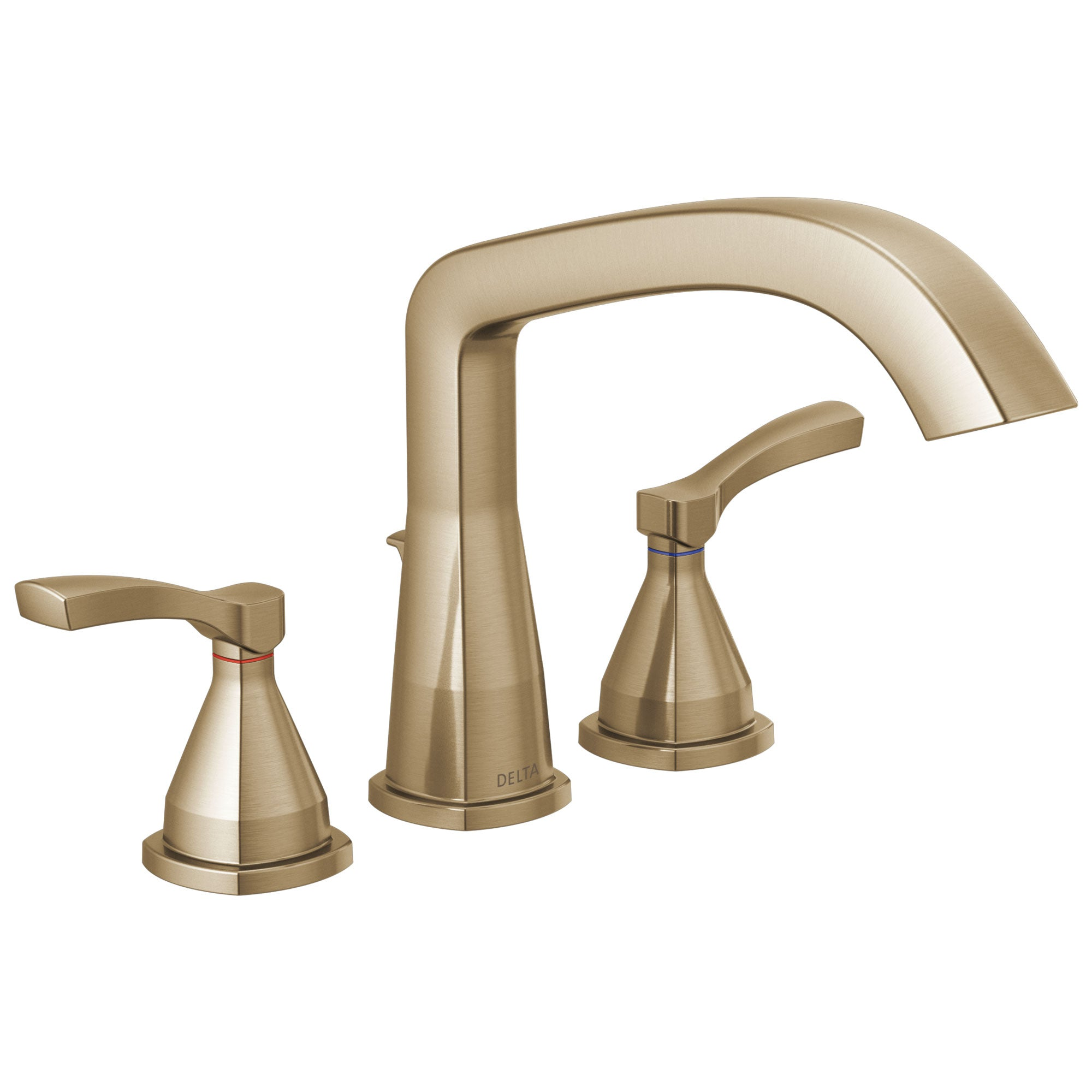 Delta Stryke Collection Champagne Bronze Finish Three Hole Roman Tub Filler Faucet Includes Rough-in Valve and Lever Handles D3156V