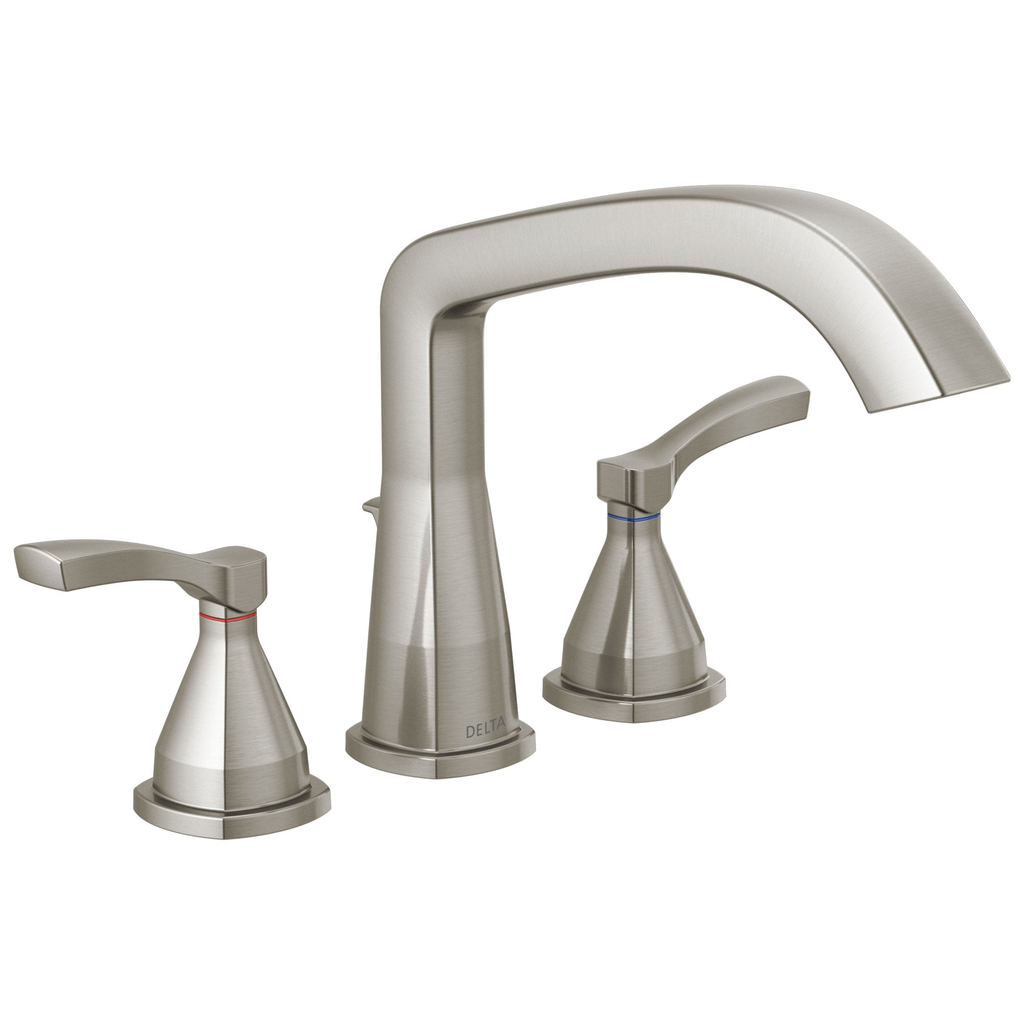 Delta Stryke Collection Stainless Steel Finish Three Hole Roman Tub Filler Faucet Includes Rough-in Valve and Lever Handles D3155V