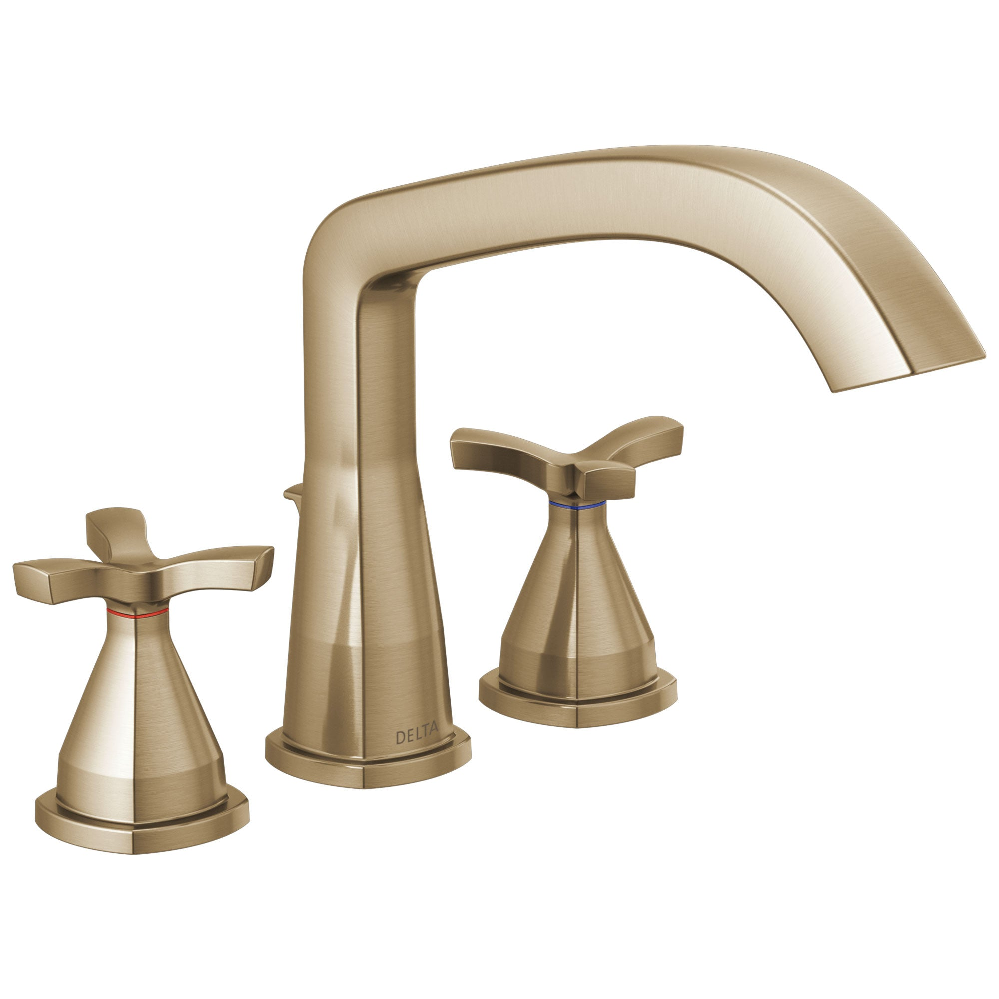 Delta Stryke Champagne Bronze Finish Three Hole Cross Handle Roman Tub Filler Faucet Trim Kit (Requires Valve) DT27766CZ