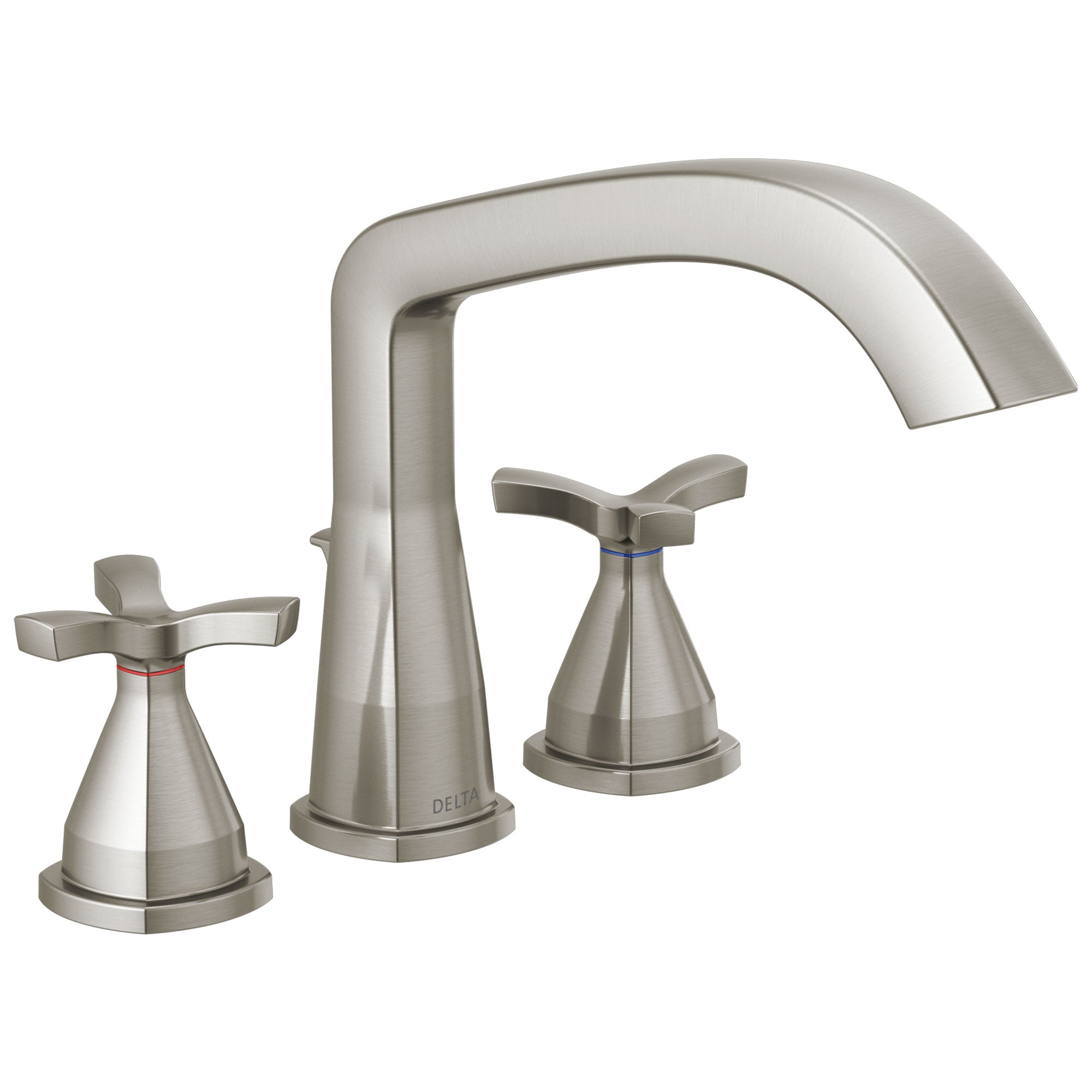 Delta Stryke Stainless Steel Finish Three Hole Cross Handle Roman Tub Filler Faucet Trim Kit (Requires Valve) DT27766SS