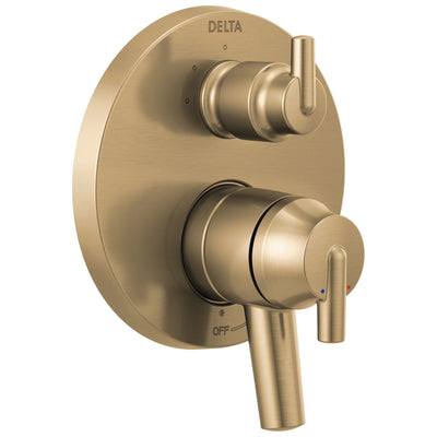 Delta Trinsic Champagne Bronze Contemporary Shower Faucet System Control with 3-Setting Integrated Diverter Includes Valve and Handles D3736V
