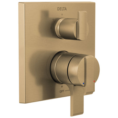 Delta Ara Champagne Bronze Finish Angular Modern 17 Series Shower Faucet Control with 3-Setting Integrated Diverter Includes Valve and Handles D3734V