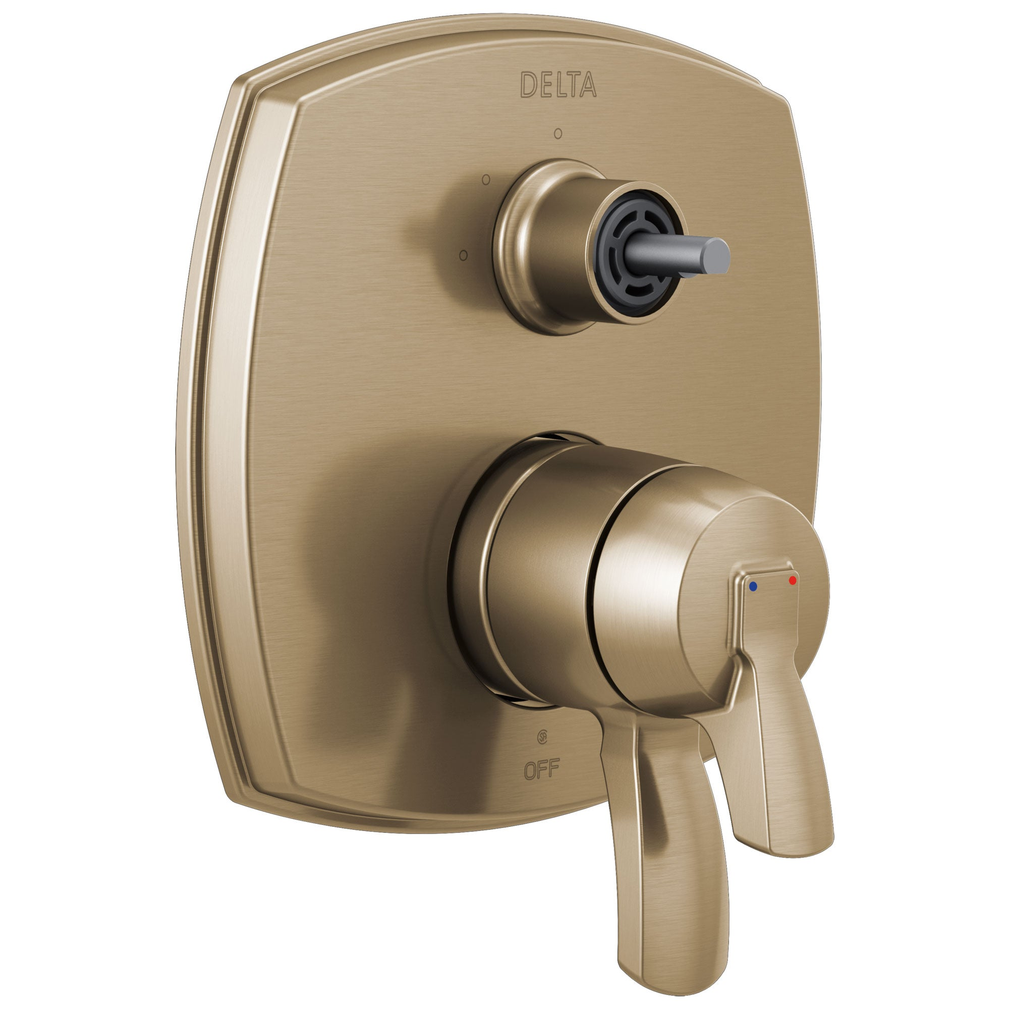 Delta Stryke Champagne Bronze Finish 17 Series Integrated 3-Function Diverter Shower Control Trim Kit Less Diverter Handle (Requires Valve) DT27876CZLHP