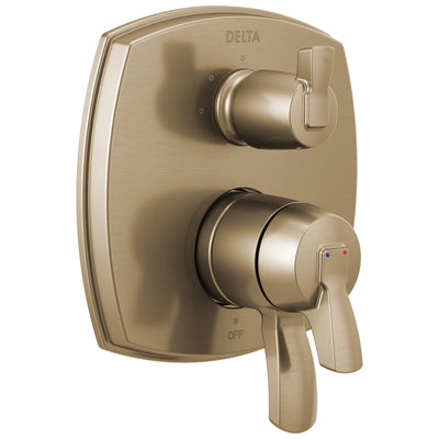 Delta Stryke Champagne Bronze Finish 17 Series Integrated 3-Function Lever Handle Diverter Shower System Control Includes Valve and Handles D3729V