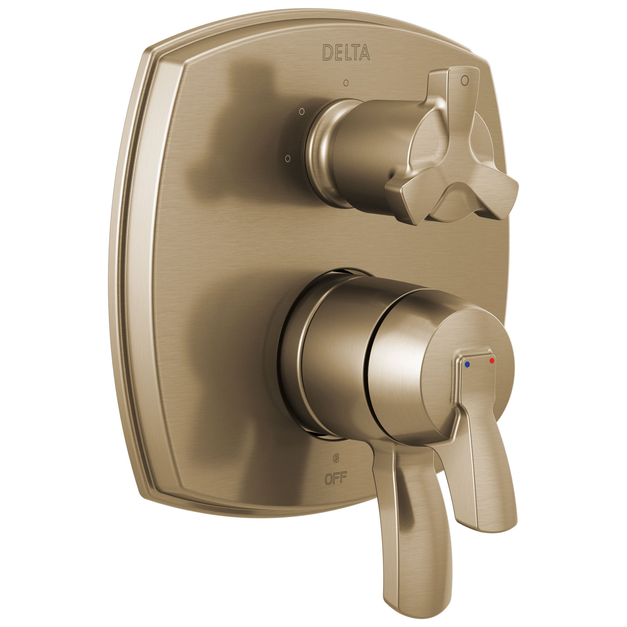 Delta Stryke Champagne Bronze Finish 17 Series Integrated 3-Function Cross Handle Diverter Shower System Control Includes Valve and Handles D3147V