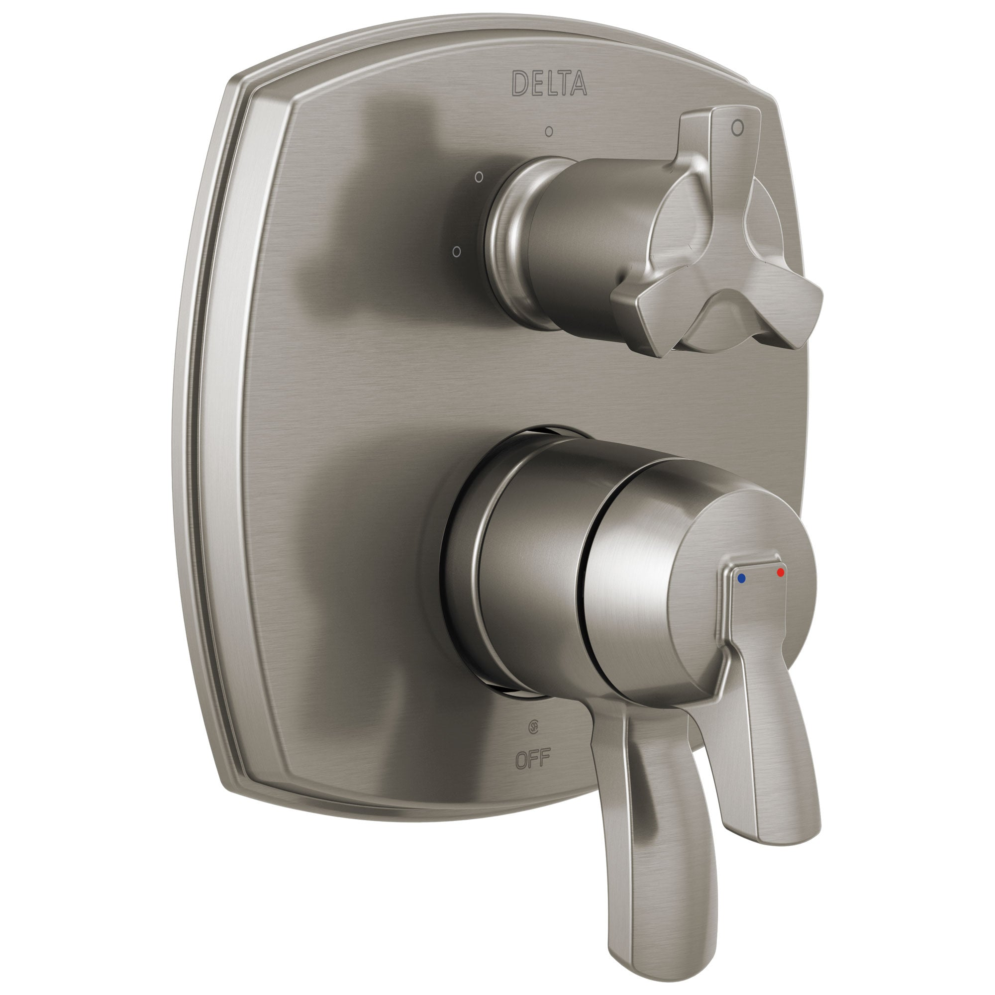 Delta Stryke Stainless Steel Finish 17 Series Integrated 3-Function Cross Handle Diverter Shower System Control Includes Valve and Handles D3141V