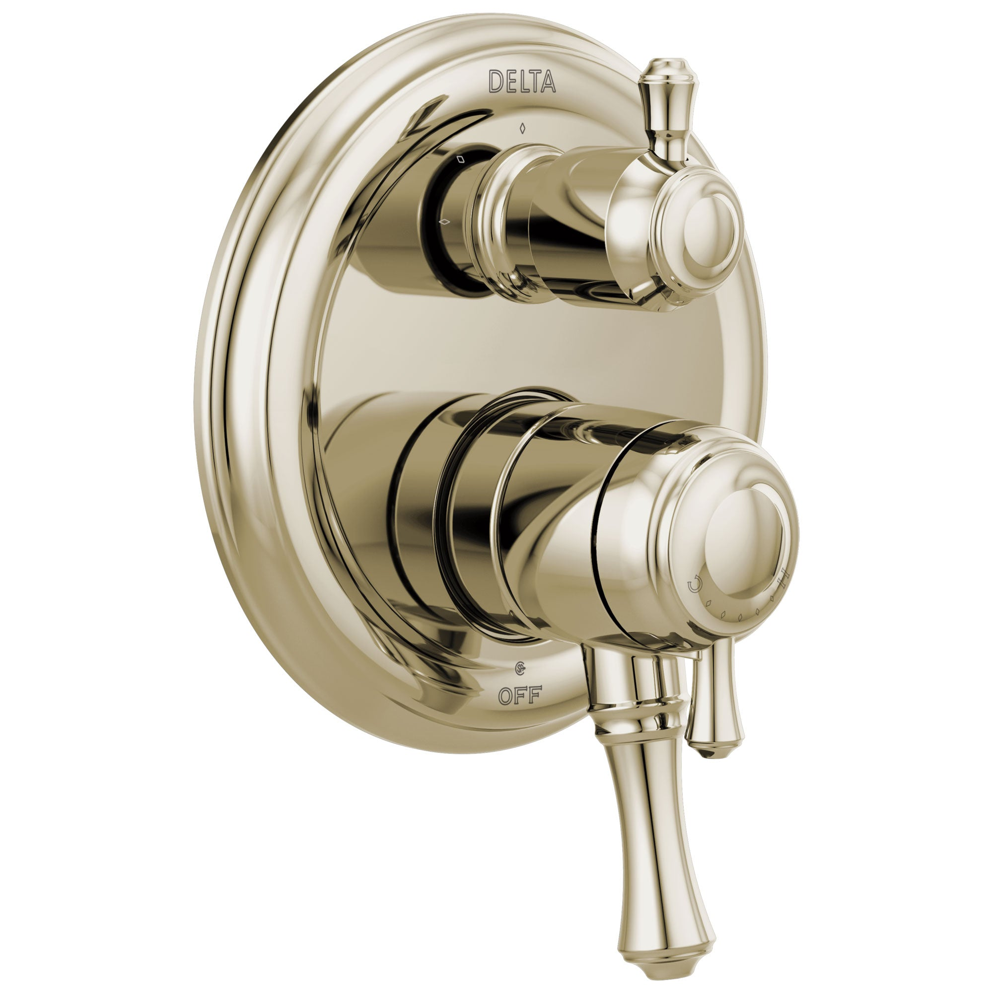 Delta Cassidy Polished Nickel Finish Traditional 17 Series Shower System Control with 3-Function Integrated Diverter Includes Valve and Handles D3721V