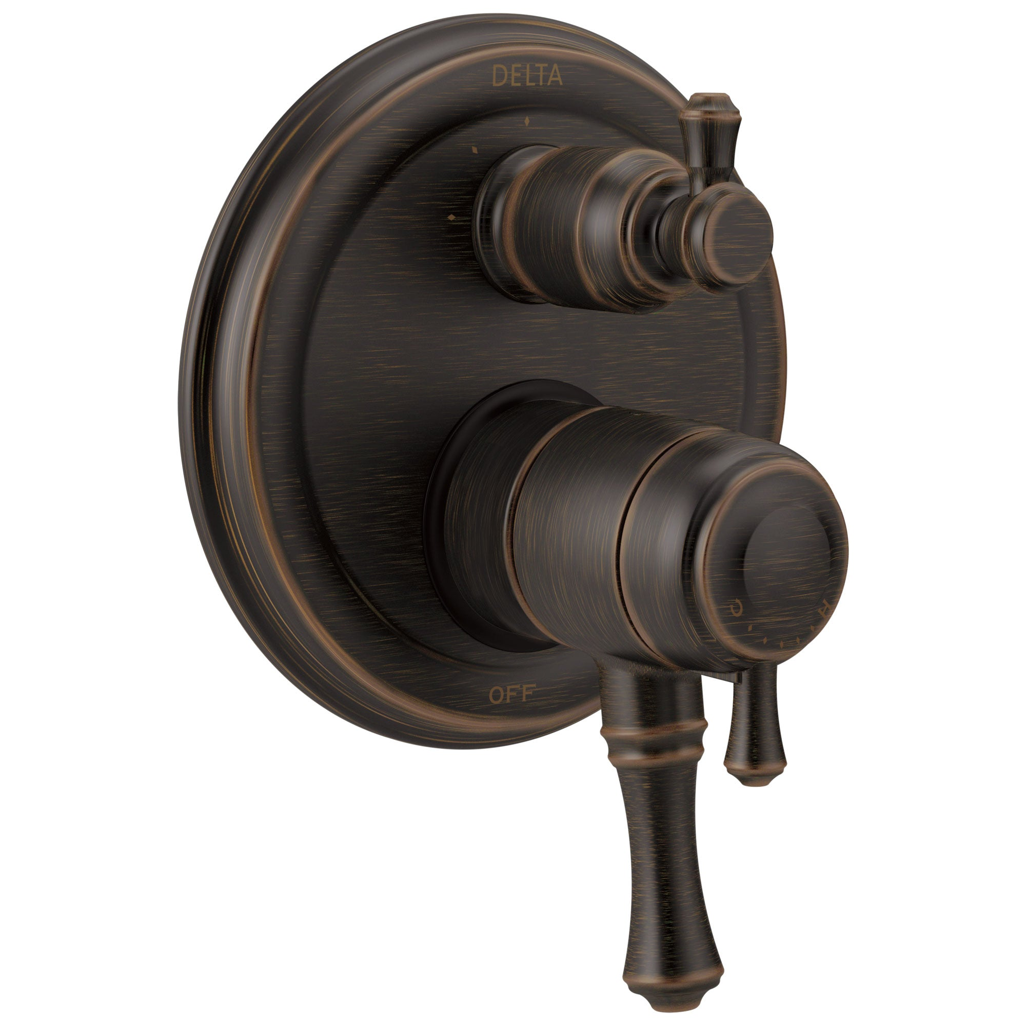 Delta Cassidy Collection Venetian Bronze Traditional Shower Faucet Control Handle with 3-Setting Integrated Diverter Trim (Requires Valve) DT27897RB