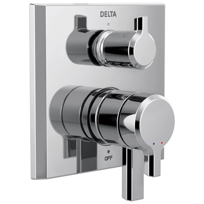 Delta Pivotal Chrome Finish Monitor 17 Series Shower System Control with 3-Setting Diverter Includes Rough-in Valve and Handles D3137V