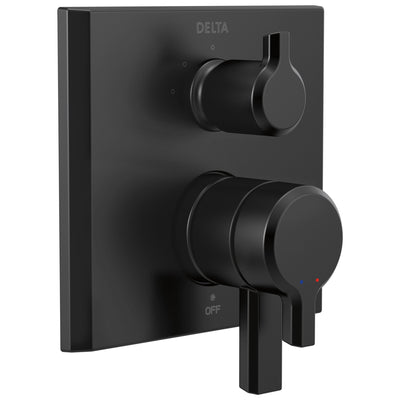 Delta Pivotal Matte Black Finish Monitor 17 Series Shower System Control with 3-Setting Diverter Includes Rough-in Valve and Handles D3719V