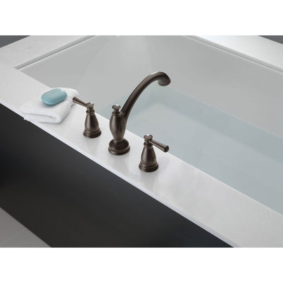 Delta Linden Collection Venetian Bronze Finish Widespread Roman Tub Filler Faucet Trim Kit (Rough-in Valve Sold Separately) DT2793RB