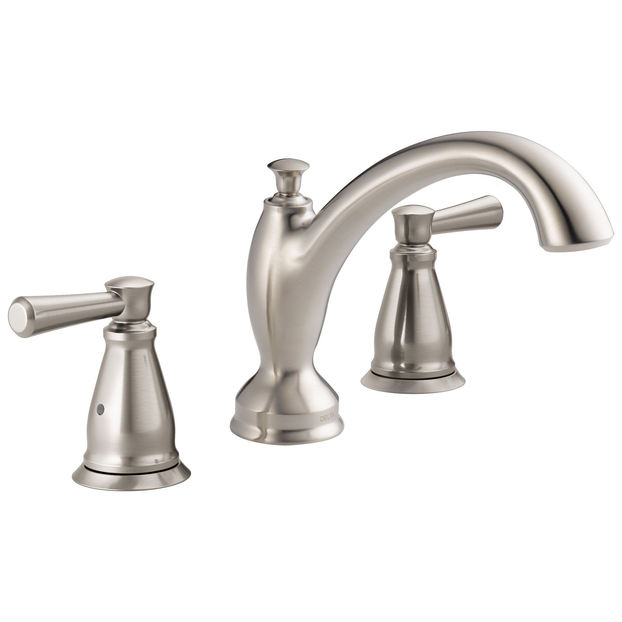 Delta Linden Collection Stainless Steel Finish Widespread Roman Tub Filler Faucet Trim Kit (Rough-in Valve Sold Separately) DT2793SS