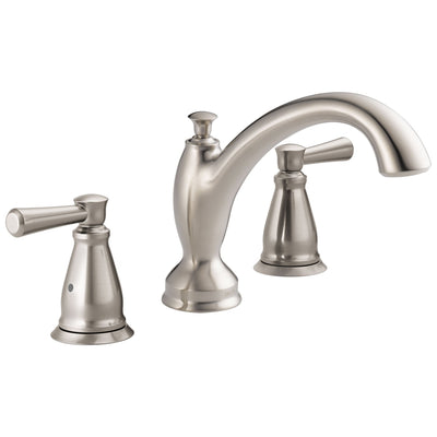 Delta Linden Collection Stainless Steel Finish Widespread Roman Tub Filler Faucet COMPLETE ITEM Includes Rough-in Valve D2160V
