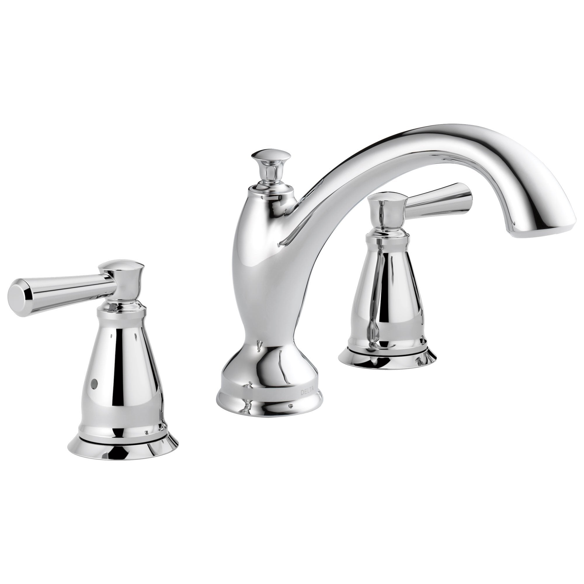 Delta Linden Collection Chrome Finish Widespread Roman Tub Filler Faucet Trim Kit (Rough-in Valve Sold Separately) DT2793
