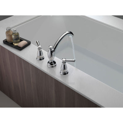 Delta Linden Collection Chrome Finish Widespread Roman Tub Filler Faucet COMPLETE ITEM Includes Rough-in Valve D2162V