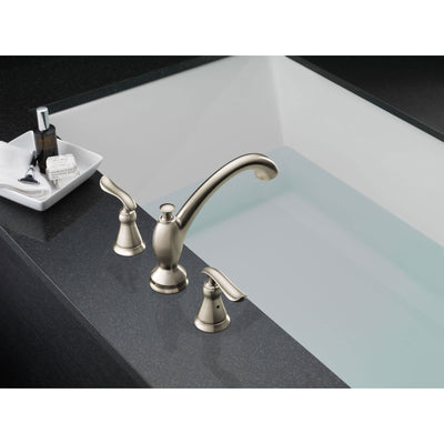 Delta Linden Widespread Stainless Steel Finish Roman Tub Faucet with Valve D926V