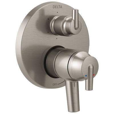 Delta Trinsic Stainless Steel Finish Shower Faucet Control Handle with 6-Setting Integrated Diverter Includes Trim Kit and Rough-in Valve with Stops D2155V