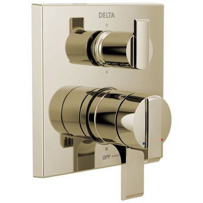 Delta Ara Polished Nickel Finish Angular Modern 17 Series Shower System Control with 6-Setting Integrated Diverter Includes Valve and Handles D3712V