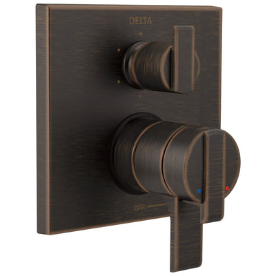 Delta Ara Venetian Bronze Modern Monitor 17 Shower Faucet Control Handle with 6-Setting Integrated Diverter Includes Trim Kit and Valve without Stops D2150V