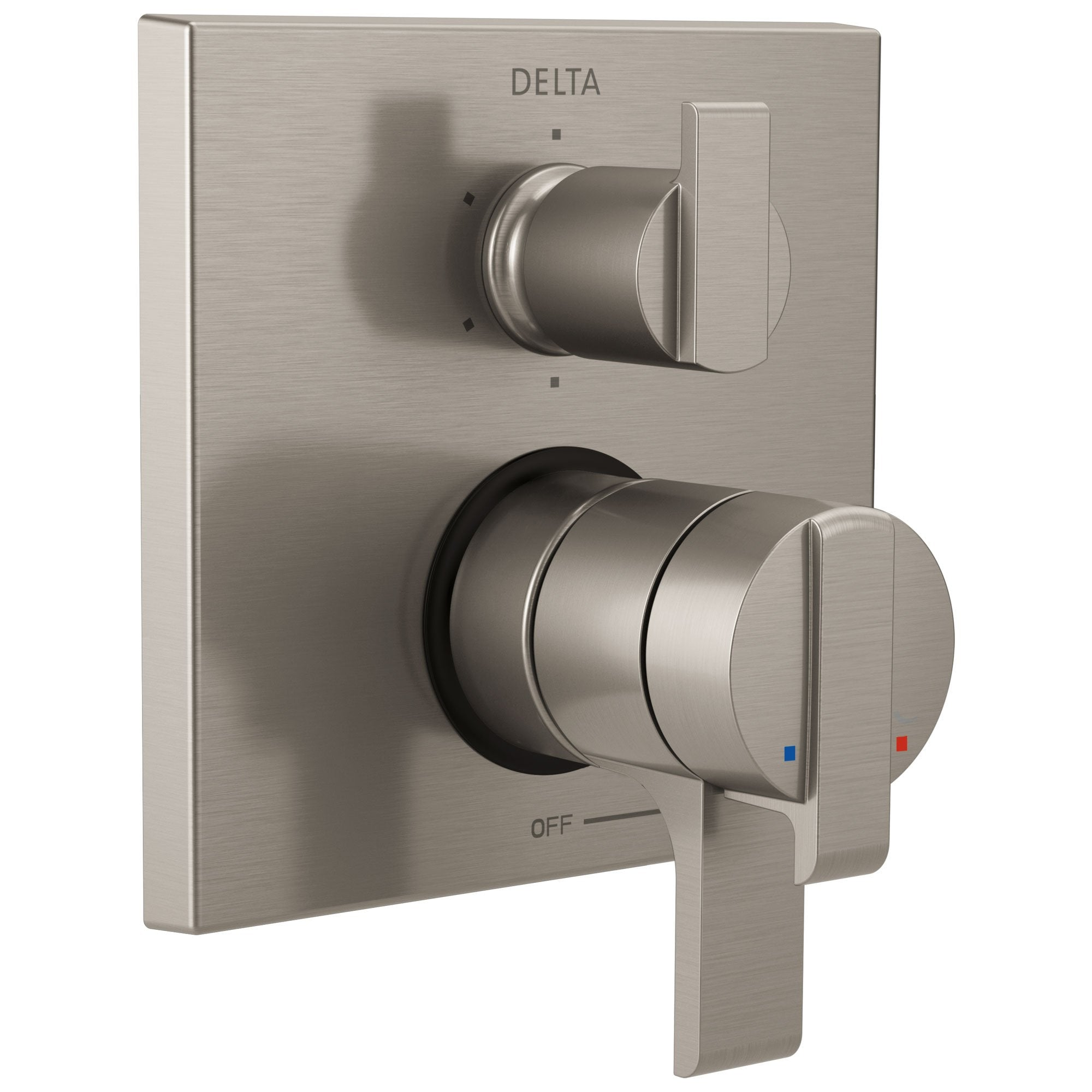 Delta Ara Stainless Steel Finish Modern Shower Faucet Control Handle with 6-Setting Integrated Diverter Includes Trim Kit and Rough-in Valve with Stops D2149V