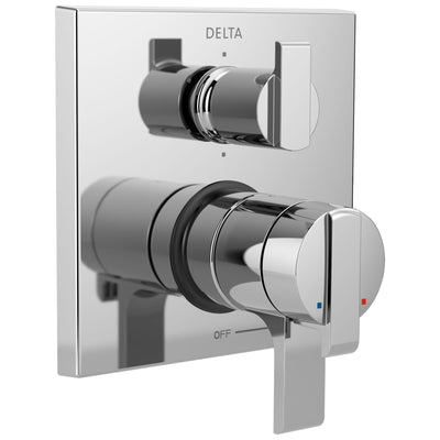 Delta Ara Chrome Angular Modern Monitor 17 Shower Faucet Control Handle with 6-Setting Integrated Diverter Includes Trim Kit and Valve with Stops D2153V