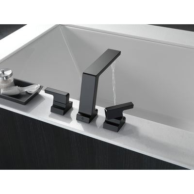 Delta Pivotal Matte Black Finish Roman Tub Filler Faucet Trim Kit (Requires Valve) DT2799BL