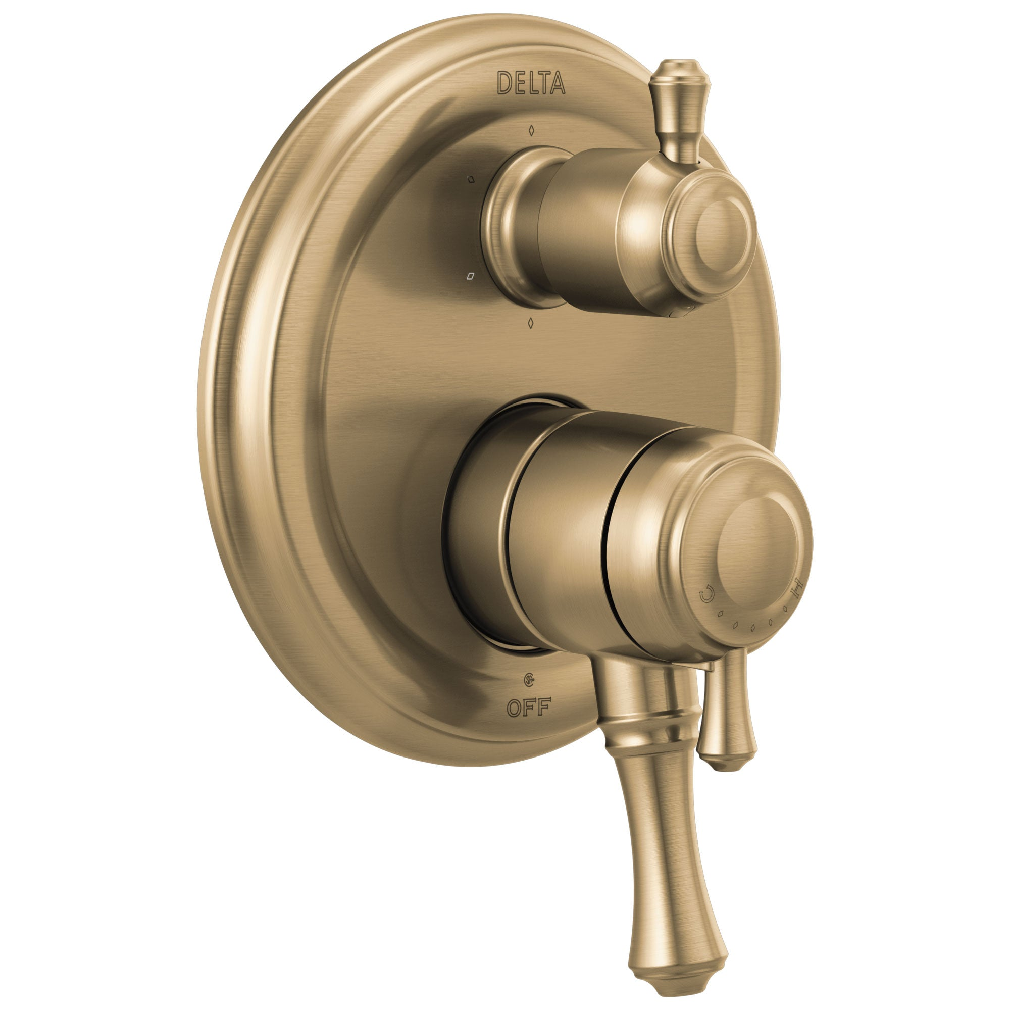 Delta Cassidy Champagne Bronze Finish Monitor 17 Series Shower System Control with 6-Setting Diverter Includes Rough-in Valve and Handles D3117V