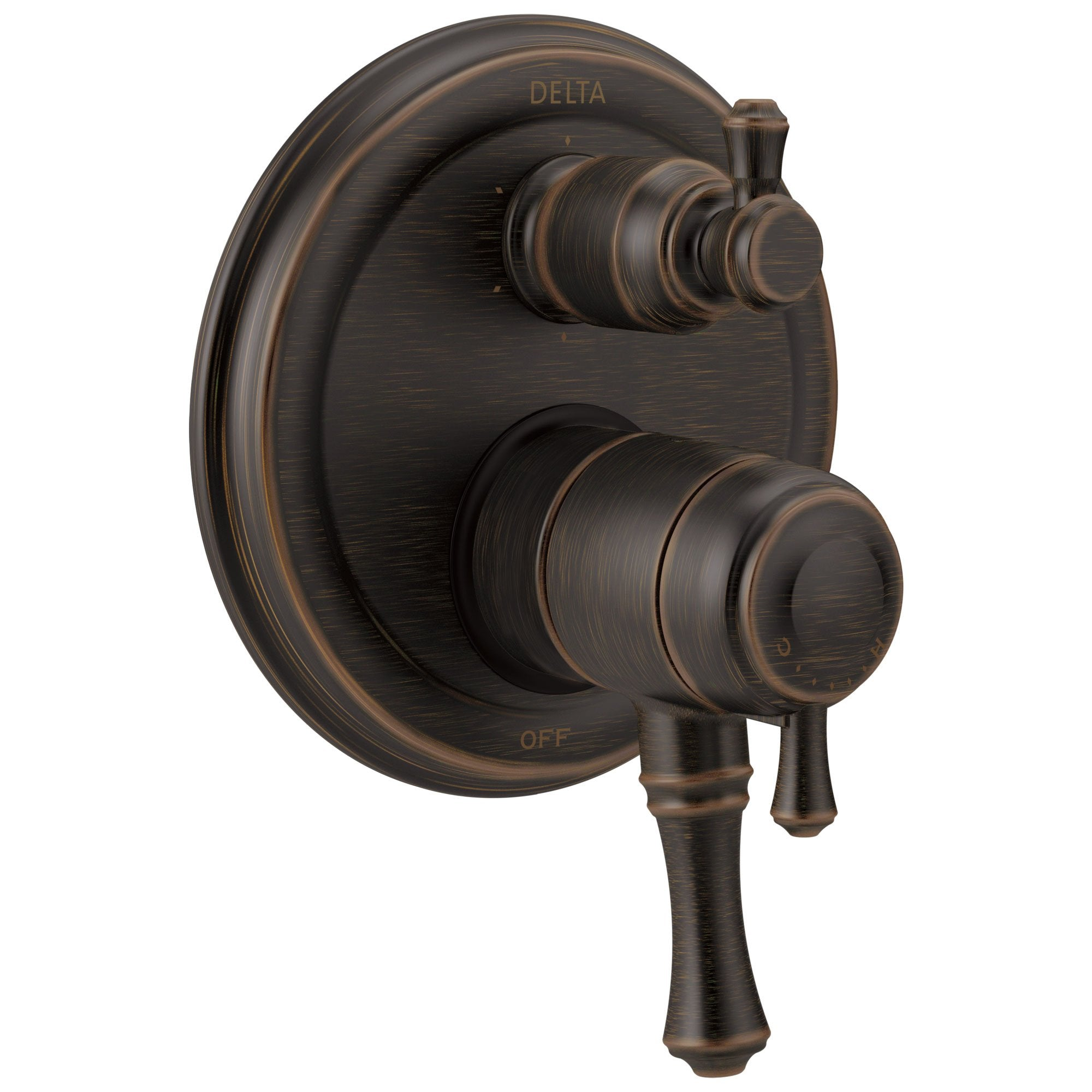 Delta Cassidy Venetian Bronze Traditional Shower Faucet Control Handle with 6-Setting Integrated Diverter Includes Trim Kit and Rough-in Valve with Stops D2145V