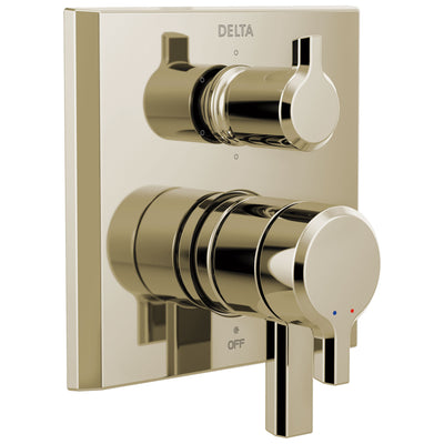 Delta Pivotal Polished Nickel Finish Monitor 17 Series Shower System Control with 6-Setting Diverter Includes Rough-in Valve and Handles D3113V