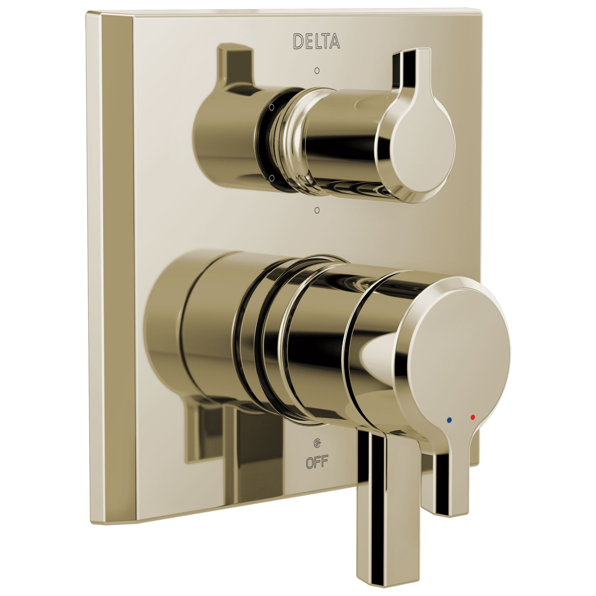 Delta Pivotal Polished Nickel Finish Monitor 17 Series Shower System Control with 6-Setting Diverter Includes Rough-in Valve and Handles D3697V