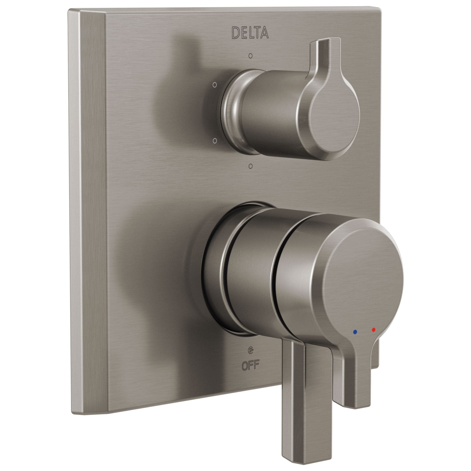 Delta Pivotal Stainless Steel Finish Monitor 17 Series Shower System Control with 6-Setting Diverter Includes Rough-in Valve and Handles D3696V