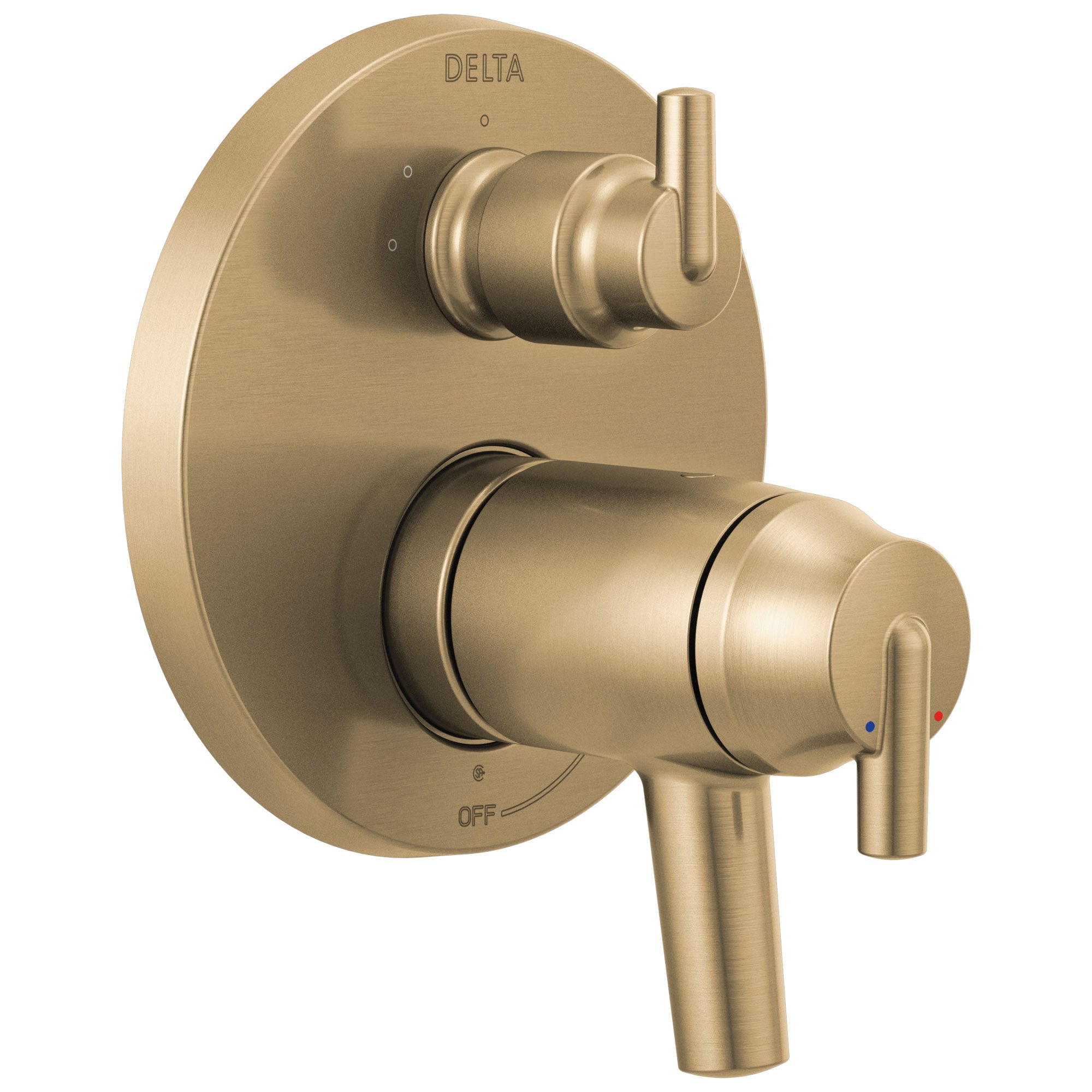 Delta Trinsic Champagne Bronze Finish Modern Thermostatic Shower Faucet Control with 3-Setting Integrated Diverter Includes Valve and Handles D3694V