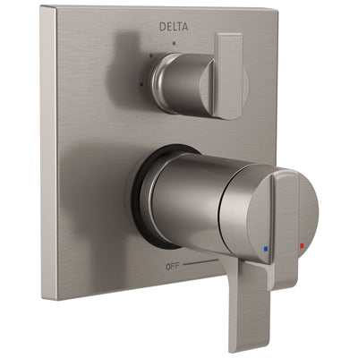 Delta Ara Stainless Steel Finish Thermostatic Shower Faucet Control with 3-Setting Integrated Diverter Includes Trim Kit and Rough-in Valve with Stops D2131V