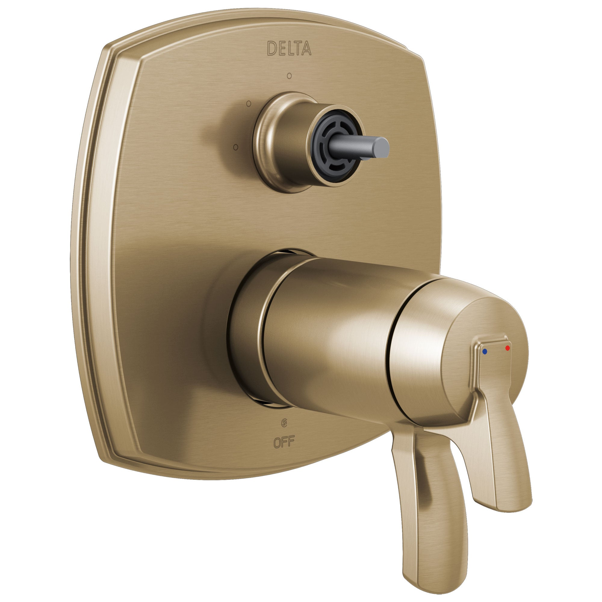 Delta Stryke Champagne Bronze Finish 17 Thermostatic Integrated Diverter Shower Control Trim Kit with Three Function Diverter Less Diverter Handle (Requires Valve) DT27T876CZLHP