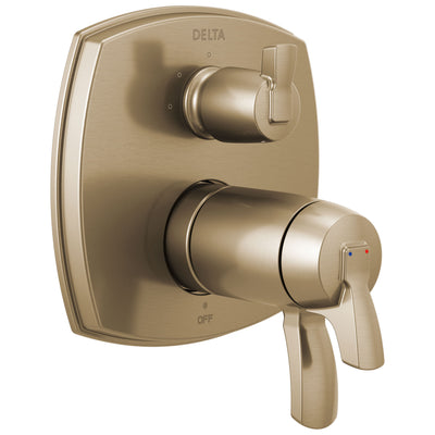 Delta Stryke Champagne Bronze Finish 3-setting Integrated Lever Handle Diverter Thermostatic Shower System Control Includes Valve and Handles D3100V