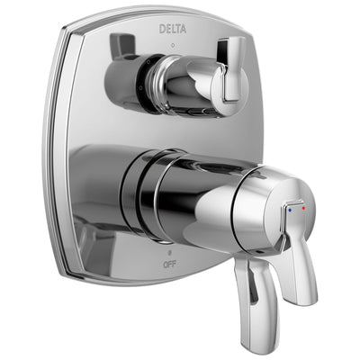Delta Stryke Chrome Finish 3-setting Integrated Lever Handle Diverter Thermostatic Shower System Control Includes Rough-in Valve and Handles D3098V