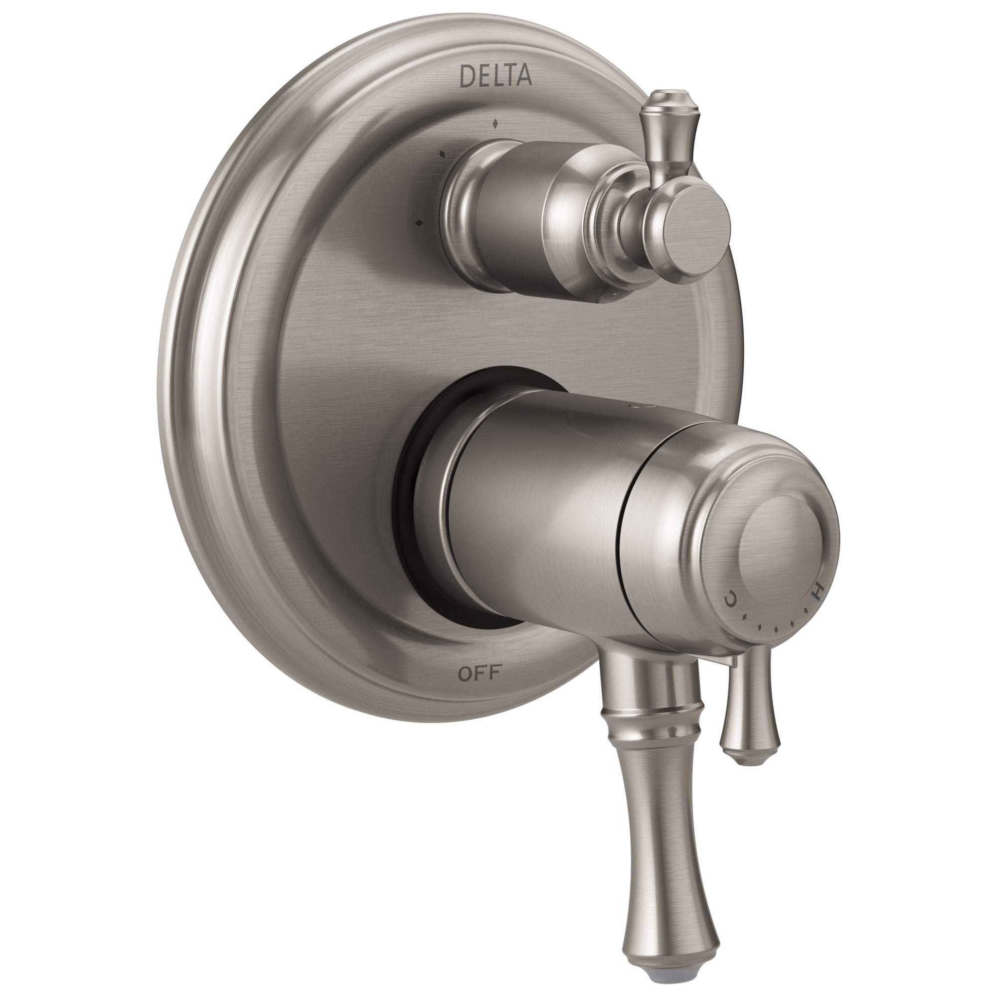 Delta Cassidy Collection Stainless Steel Finish Thermostatic Shower Faucet Control with 3-Setting Integrated Diverter Trim (Requires Valve) DT27T897SS