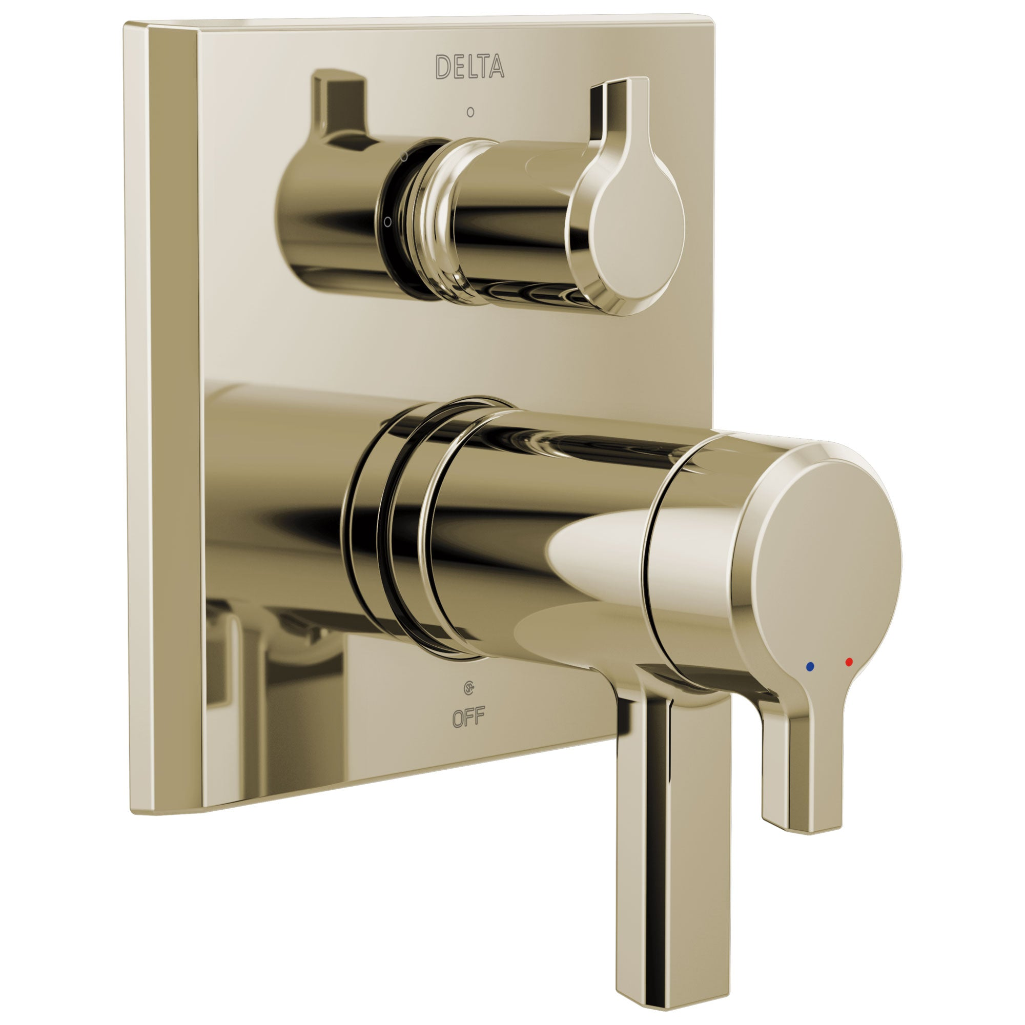 Delta Pivotal Modern Polished Nickel Finish Thermostatic Shower System Control with 3-Setting Integrated Diverter Includes Valve and Handles D3676V