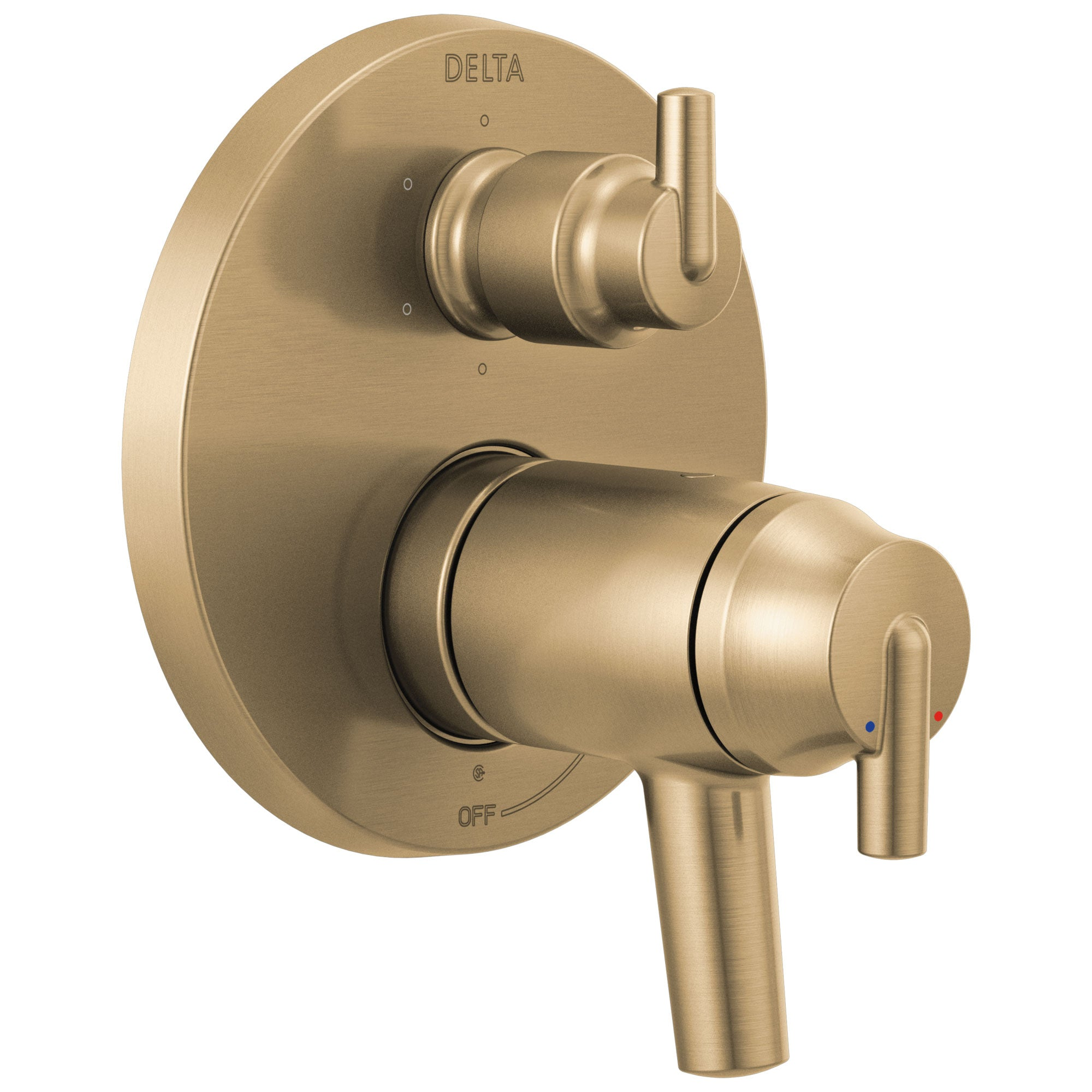 Delta Trinsic Champagne Bronze Contemporary Thermostatic Shower System Control with 6-Setting Integrated Diverter Includes Valve and Handles D3086V