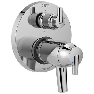 Delta Trinsic Chrome Thermostatic TempAssure 17T Shower Faucet Control with 6-Setting Integrated Diverter Includes Trim Kit and Valve without Stops D2122V