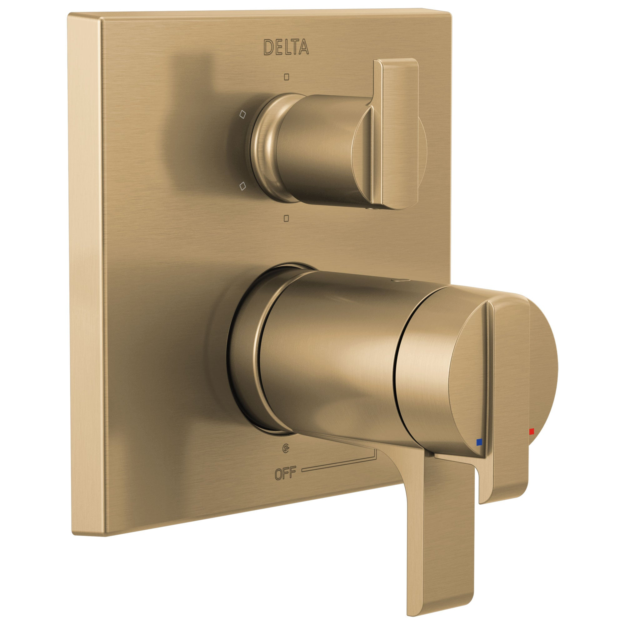 Delta Ara Champagne Bronze Finish Modern Thermostatic Shower System Control with 6-Setting Integrated Diverter Includes Rough Valve and Handles D3671V